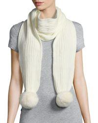 Adrienne Landau | White Ribbed Rabbit Fur Pom-pom Scarf | Lyst