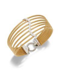 Alor | Metallic Diamond, 18k Yellow Gold & Stainless Steel Layer Cuff Bracelet | Lyst