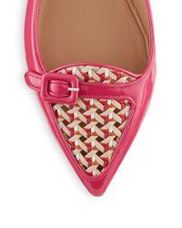 Ferragamo - Pink Patent Leather Point Toe Ballet Flats - Lyst