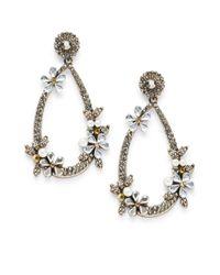 Natasha Couture - Metallic Glass Crystal Drop Earrings - Lyst