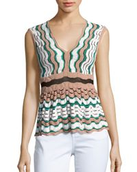 M Missoni - Green Knitted Scallop Top - Lyst