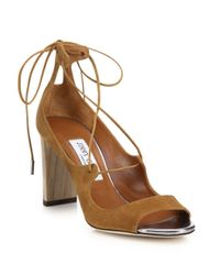 Jimmy Choo | Brown Vernie Suede Lace-up Sandals | Lyst