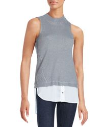 Saks Fifth Avenue | Gray Sleeveless Crewneck Sweater Knit Top | Lyst