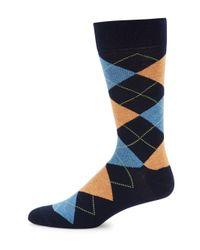 Saks Fifth Avenue | Blue Geo Pattern Socks for Men | Lyst