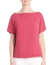 Lafayette 148 New York - Pink Cropped Mixed Rib Sweater - Lyst