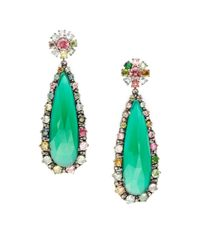Bavna | .39tcw Diamonds, Green Onyx, And Tourmaline Sterling Silver Earrings | Lyst