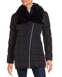 Calvin Klein | Black Faux Fur-trimmed Parka Jacket | Lyst