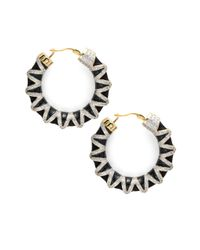 Noir Jewelry | Metallic Crystal Studded 18k Gold-plated Hoop Earrings- 1.77in | Lyst