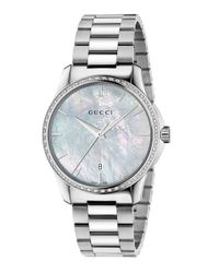 Gucci | Metallic G-timeless Diamond, Mother-of-pearl & Stainless Steel Bracelet Watch | Lyst