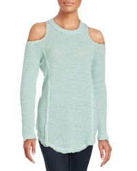 Saks Fifth Avenue | Green Cold Shoulder Sweater | Lyst