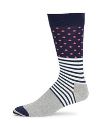 Happy Socks - Blue Cotton Blend Crew Socks - Lyst