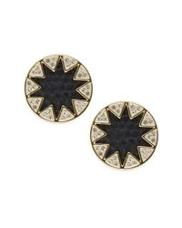 House of Harlow 1960 | Black Leather Round Stud Earrings | Lyst
