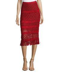Oscar de la Renta | Red Silk Pencil Skirt | Lyst