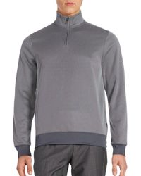 Perry Ellis | Gray Textured Three-quarter Zip Sweatshirt for Men | Lyst