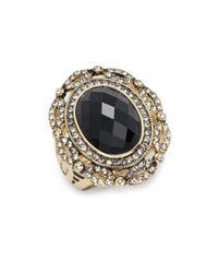 Saks Fifth Avenue | Black Glass & Goldtone Metal Ring | Lyst