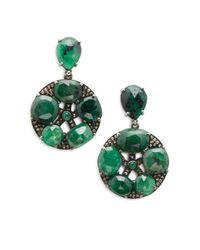 Bavna | Green Champagne Diamond, Emerald & Sterling Silver Earrings | Lyst