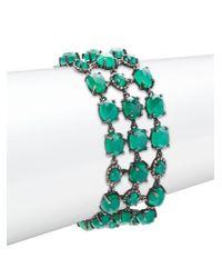 Bavna | Champagne Pave Diamond, Green Onyx & Sterling Silver Bracelet | Lyst