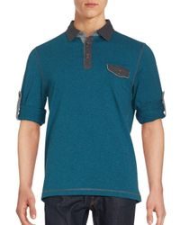 Bugatchi | Blue Cotton-knit Long Sleeve Polo for Men | Lyst