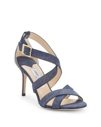 Jimmy Choo | Blue Open Toe Leather Sandals | Lyst