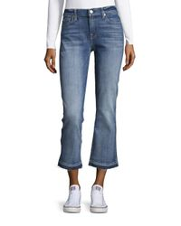 7 For All Mankind   Blue Cropped Bootcut Jeans   Lyst