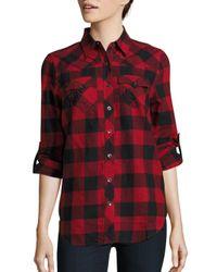 True Religion - Red Cotton Plaid Shirt - Lyst