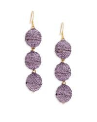 Kenneth Jay Lane | Metallic Woven Three-ball Drop Earrings | Lyst
