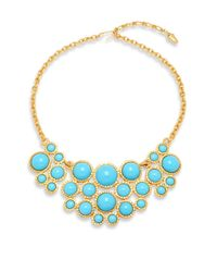 Kenneth Jay Lane | Metallic Turquoise & Goldtone Metal Bib Necklace | Lyst