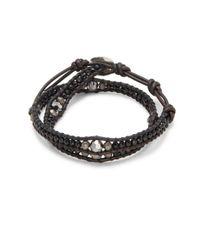Chan Luu - Metallic Silver Night Crystals, Onyx, Sterling Silver & Leather Bracelet - Lyst