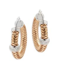 Roberto Coin | Metallic Primavera Diamond & 18k White & Rose Gold Earrings | Lyst