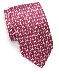 Ferragamo - Red Bird Printed Silk Tie for Men - Lyst