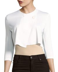 Lafayette 148 New York | White Three-quarter Sleeve Crossover Bolero Jacket | Lyst