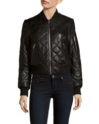 7 For All Mankind | Black Quilted Leather Baseball-collar Jacket | Lyst