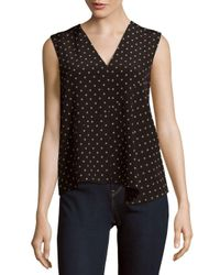 Tibi | Black Diffusion Dot Sleeveless Silk Top | Lyst
