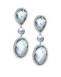 Roberto Coin - Multicolor Diamond & 18k White Gold Double Drop Earrings - Lyst