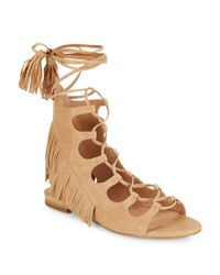 Sigerson Morrison   Natural Smazzia Suede Lace-up Gladiator Sandals   Lyst
