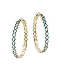 Noir Jewelry | Metallic Turquoise-studded Hinged Hoop Earrings- 4in | Lyst