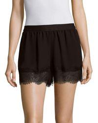 BCBGMAXAZRIA   Black Solid Eyelash Lace Shorts   Lyst