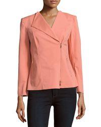 Lafayette 148 New York | Pink Sienna Front-zip Jacket | Lyst