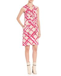 Derek Lam - Pink Abstract Silk Shift Dress - Lyst