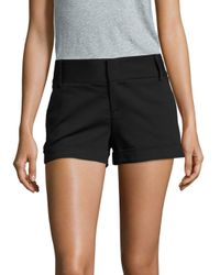 Alice + Olivia - Black Cady Solid Cotton-blend Shorts - Lyst