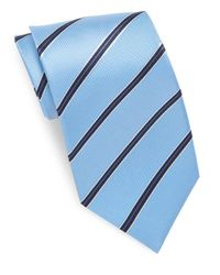 Saks Fifth Avenue | Blue Striped Pure Silk Tie for Men | Lyst