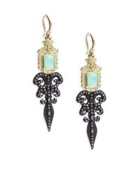 Armenta | Metallic Old World Diamond, Sapphire, Chrysoprase, Rainbow Moonstone, 18k Yellow Gold & Sterling Silver Fleur De Lis Earrings | Lyst