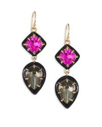 Alexis Bittar | Metallic Crystal, Pyrite Doublet & Ruby Corundum Drop Earrings | Lyst