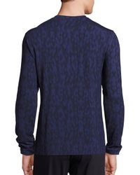 Giorgio Armani | Blue Multicolored Diamond-print Sweater for Men | Lyst