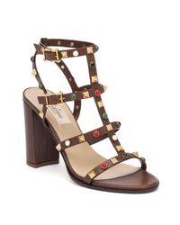 Valentino | Brown Vitello Multi-studded Leather Gladiator Sandals | Lyst