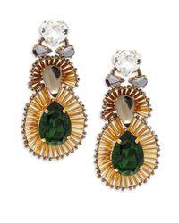 Tataborello - Green Swarovski Crystal Drop Earrings - Lyst