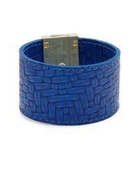 CC SKYE - Blue Embossed Leather Wrap Bracelet - Lyst