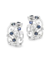 Effy   Metallic Diamond, Sapphire & 14k White Gold Solid Fill Earrings   Lyst