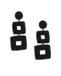 Kenneth Jay Lane - Black Goldtone Square Beaded Clip-on Earrings - Lyst