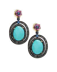 Bavna - Blue Multi-stone Sterling Silver Earrings - Lyst